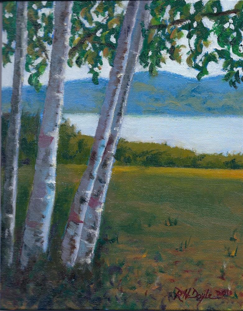 """Birches at the Lake"" original fine art by Richard Doyle"