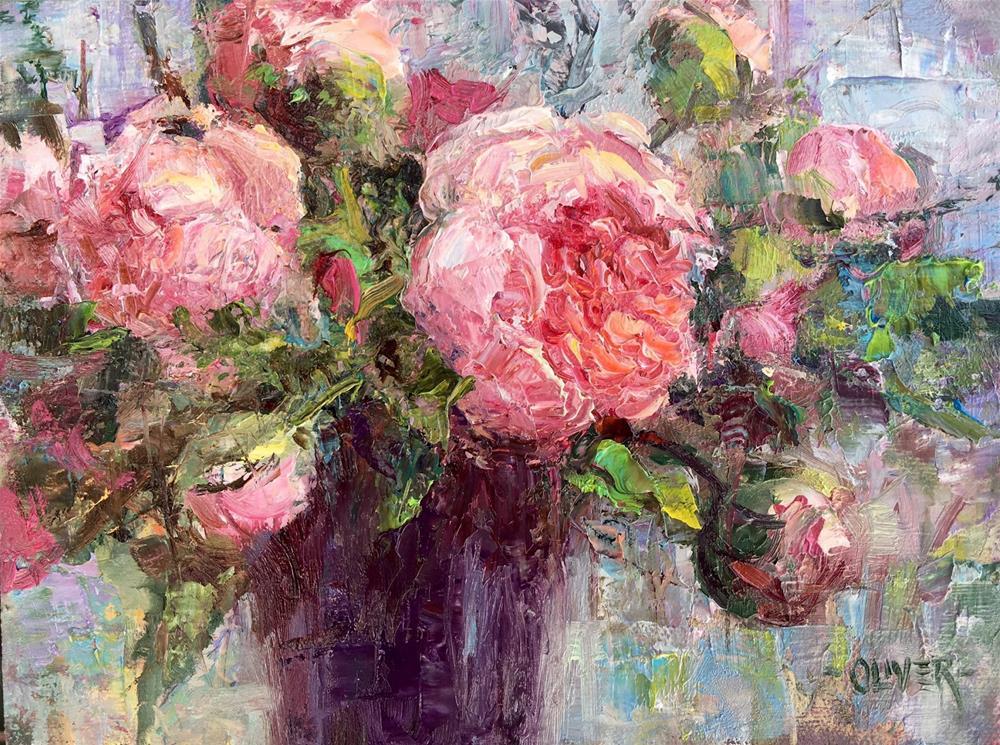 """""""Peony Arrangement"""" original fine art by Julie Ford Oliver"""