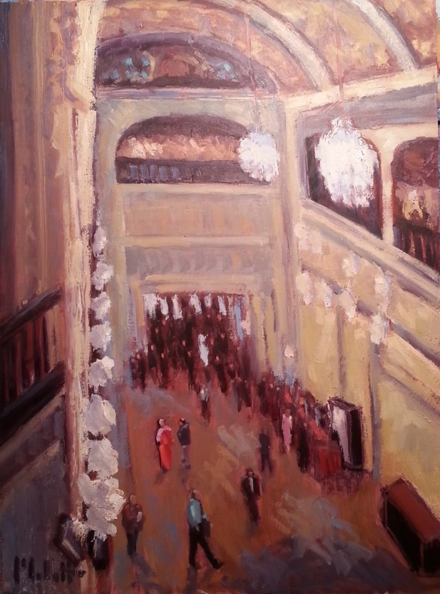 """Philharmonic Embassy Theater 9x12 Interior City Impressionist Painting"" original fine art by Heidi Malott"