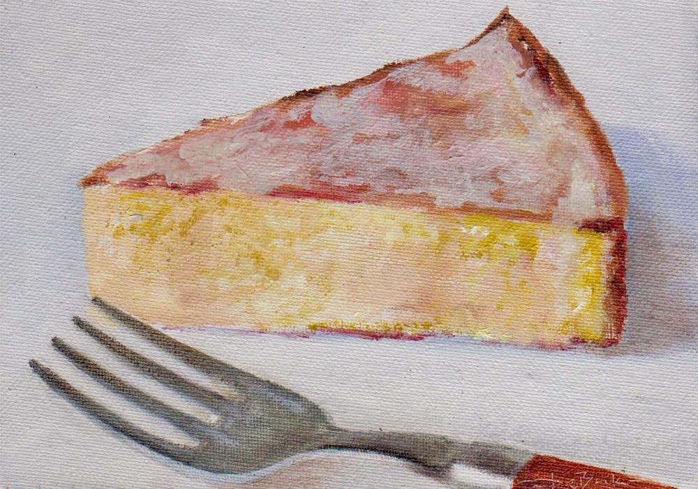 """piece of cheesecake"" original fine art by V. DeBak"