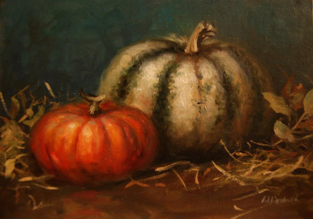 """Still Life with Pumpkins,  Oil on 5x7 Linen Panel"" original fine art by Carolina Elizabeth"