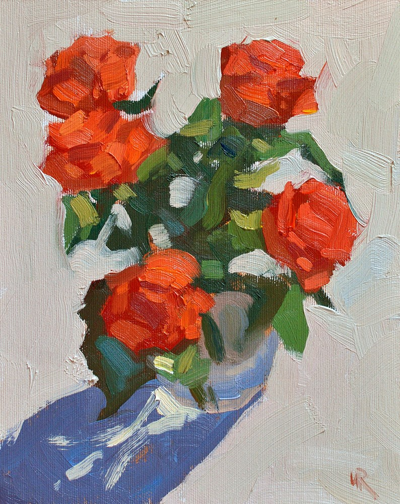 """Orange Roses in Sunlight"" original fine art by Lena  Rivo"