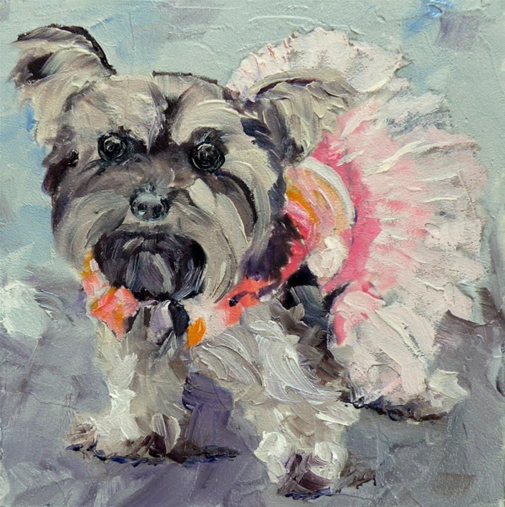"""TuTu a pup © SAUNDRA LANE GALLOWAY"" original fine art by Saundra Lane Galloway"