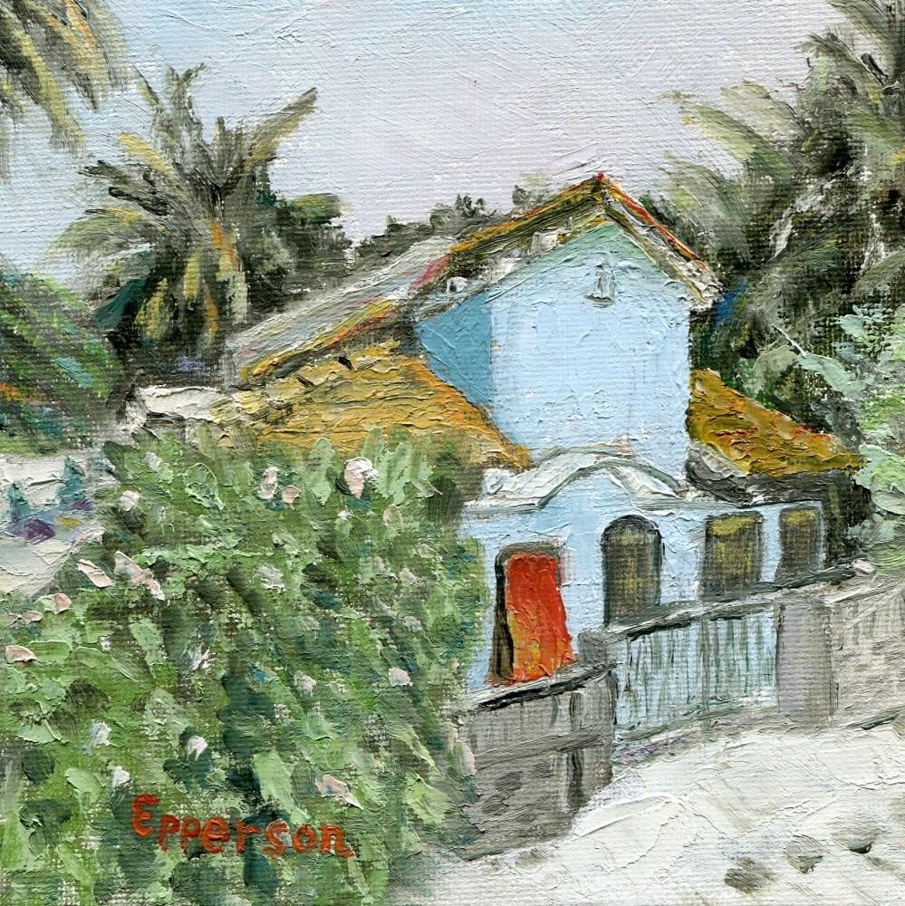 """Blue House in Sri Lanka"" original fine art by Stanley Epperson"