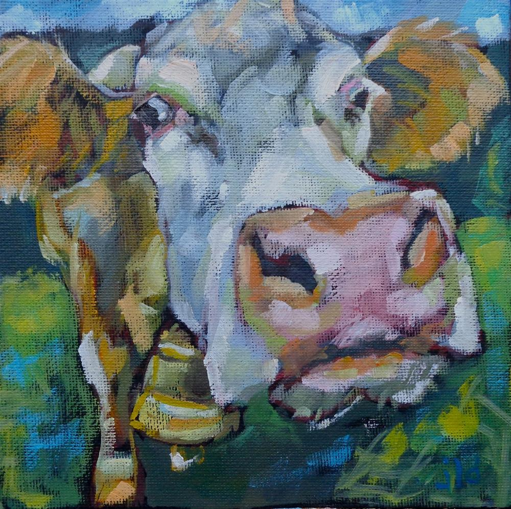 """Cow 105 For whom the bell tolls"" original fine art by Jean Delaney"