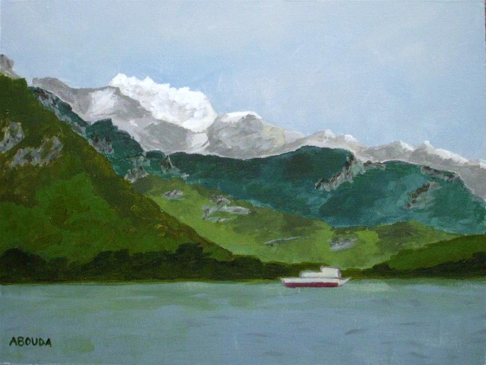 """""""La Tournette at Lac Annecy, France"""" original fine art by Sandy Abouda"""