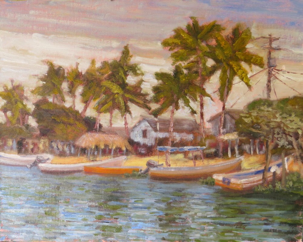 """Morning Arrival at Boca Chica"" original fine art by Richard Kiehn"