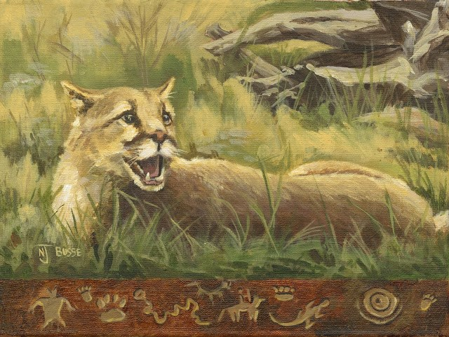 """Original Wildlife, Mountain Lion Painting Mountain Lion Sunning by Colorado Artist Nancee Jean Bus"" original fine art by Nancee Busse"