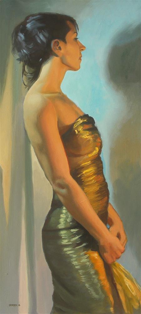 """""""Gold dress"""" original fine art by Peter Orrock"""