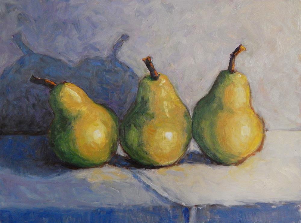 """3 Pears"" original fine art by Lisa Kyle"
