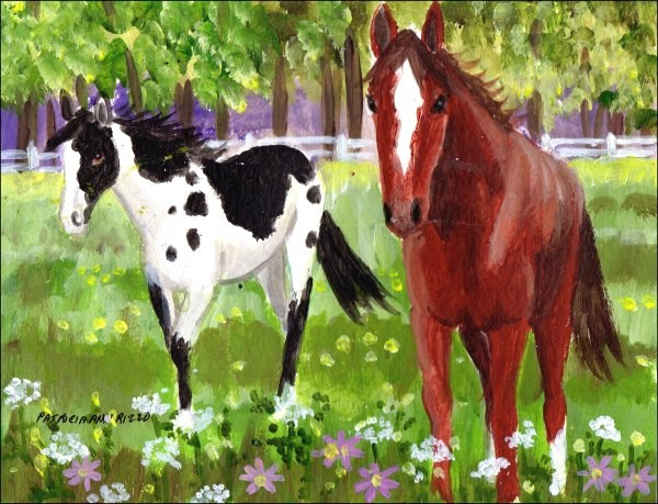 """Horses Among the Wildflowers"" original fine art by Patricia Ann Rizzo"