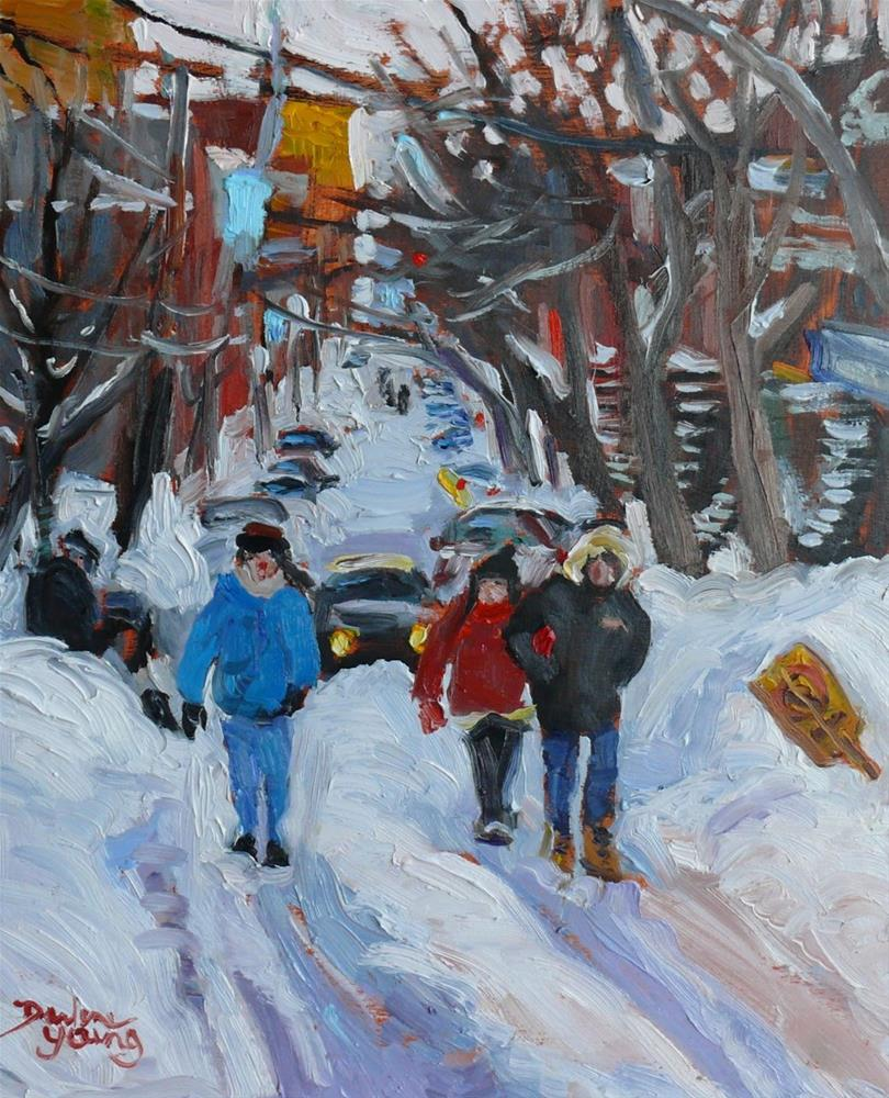 """713 Montreal Winter Scene"" original fine art by Darlene Young"