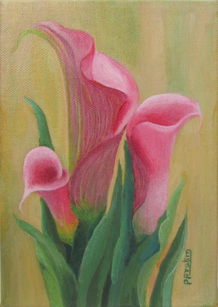 """Cala lilies-pink"" original fine art by Pratima Patel"