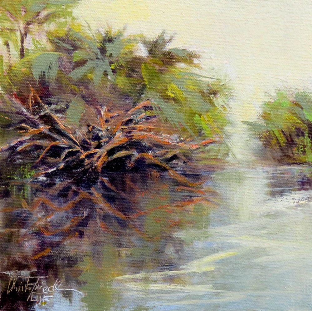 """Reflections at Alligator Pond"" original fine art by Christa Friedl"