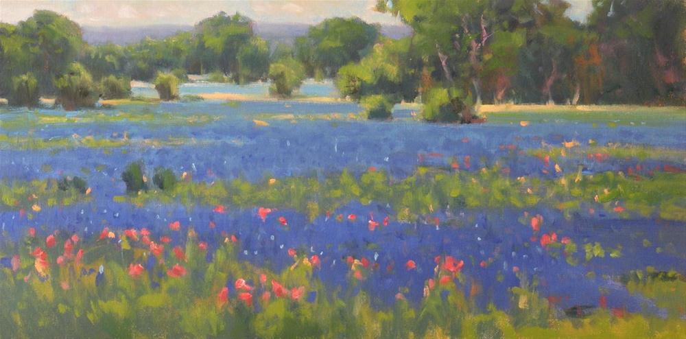"""Bluebonnets and Paintbrush near La Grange"" original fine art by David Forks"