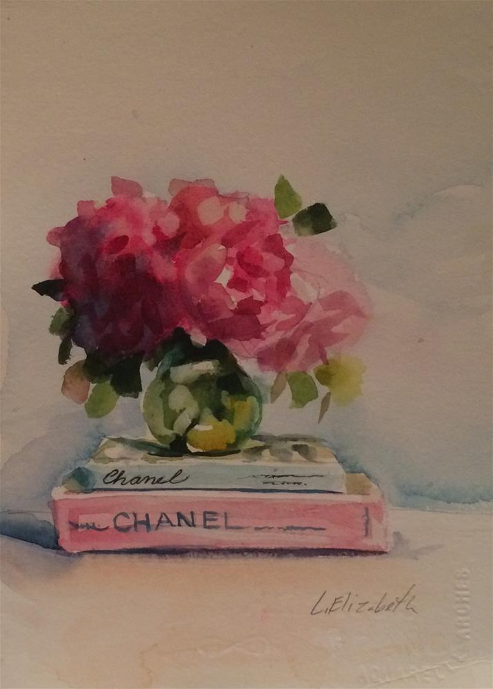 """Chanel Book with Peonies,   5  1/2 x  7 1/2   Watercolor on Paper"" original fine art by Carolina Elizabeth"