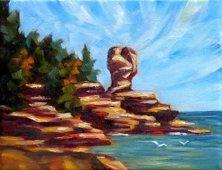 """Cloudy Day over Flowerpot Island"" original fine art by Irina Beskina"