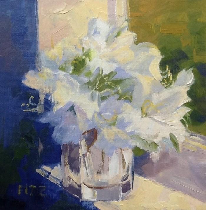 """""""Azaleas in the Window"""" original fine art by Jean Fitzgerald"""