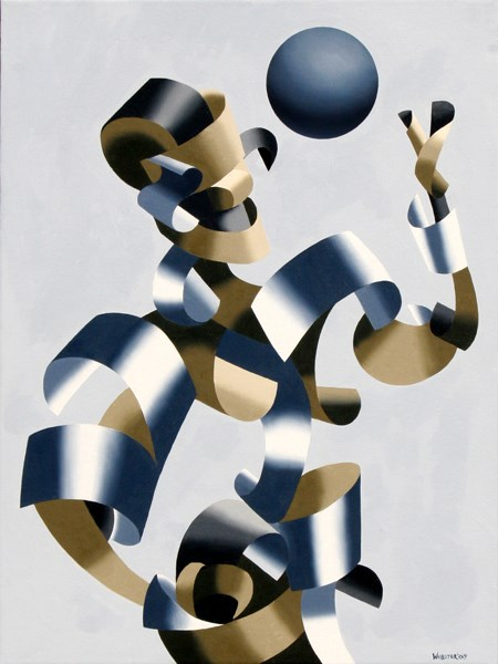 """Mark Webster Artist - Man of the Future - Abstract Futurist Geometric Figurative Oil Painting"" original fine art by Mark Webster"