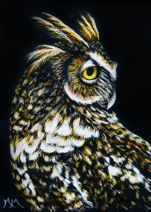 """Owl III"" original fine art by Monique Morin Matson"