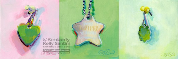 """St Patty's Dog Tags @ Auction"" original fine art by Kimberly Santini"