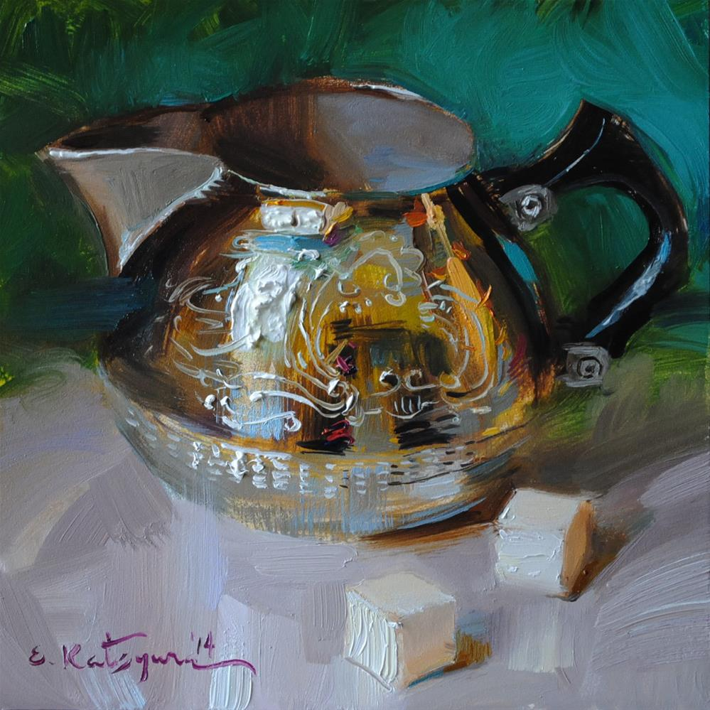 """Creamer and Sugar Cubes"" original fine art by Elena Katsyura"