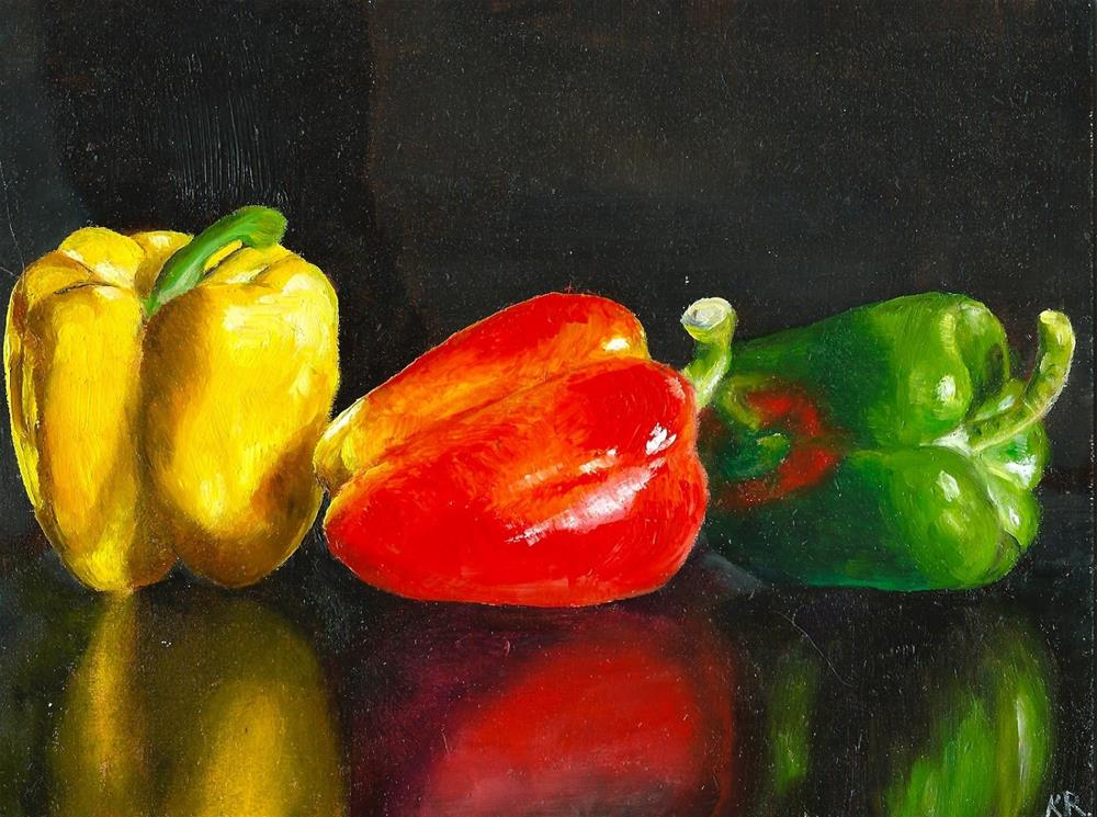 """3 peppers"" original fine art by Karen Robinson"