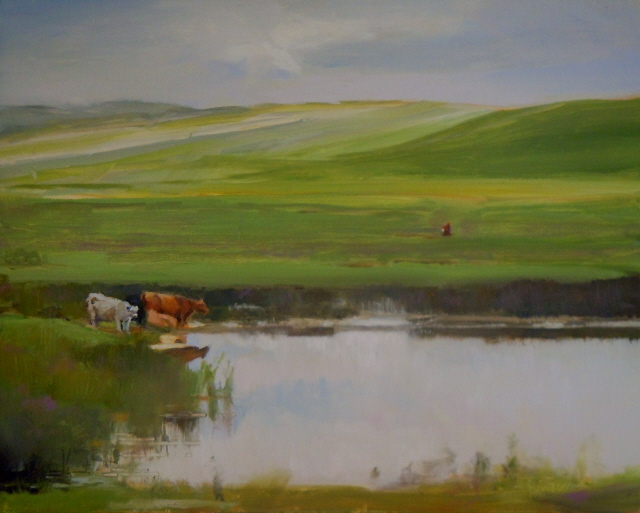 """Water Hole  Grand Prairie, Trans Canadian Highway"" original fine art by Robin Weiss"