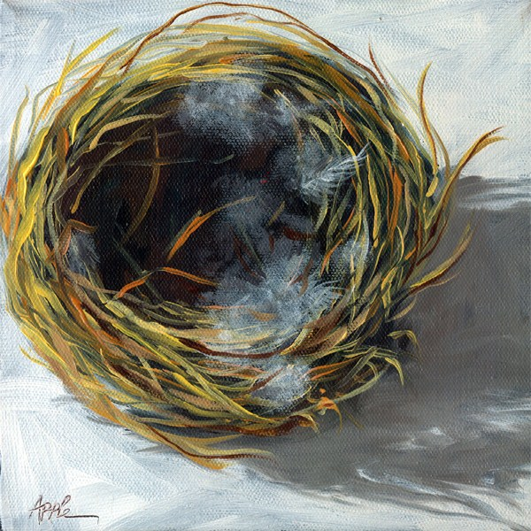 """Bird Nest realism still life"" original fine art by Linda Apple"