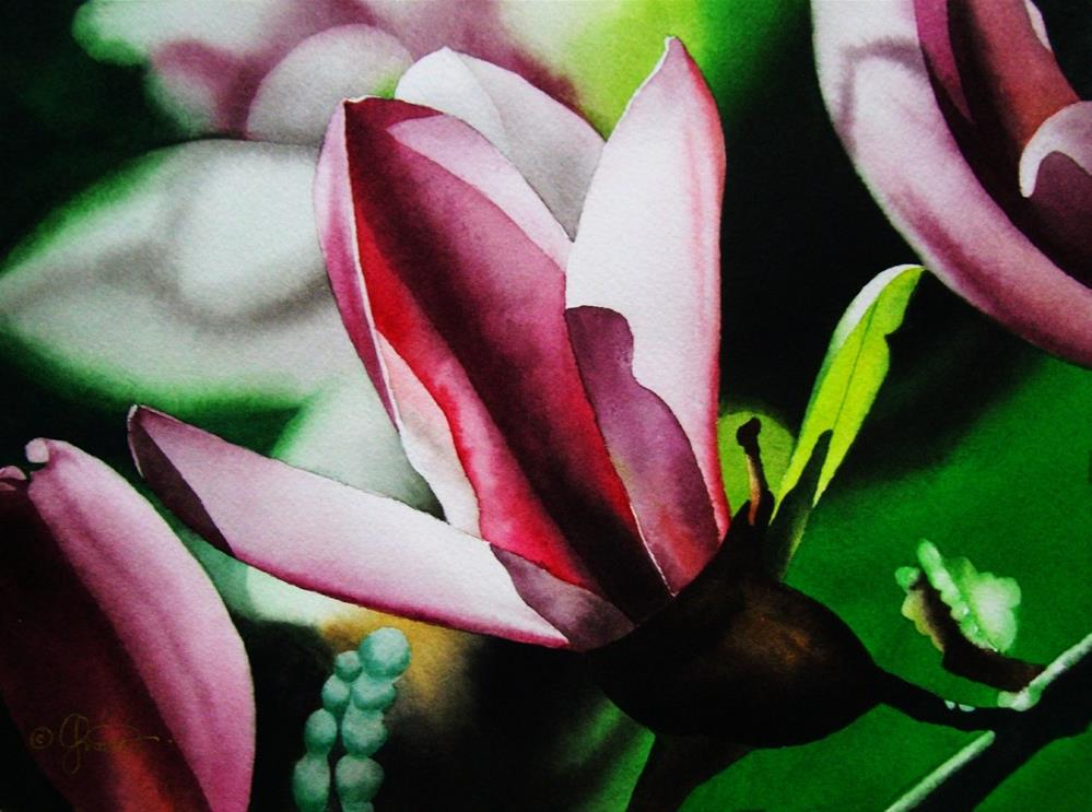 """Magnolia at Twilight"" original fine art by Jacqueline Gnott, whs"