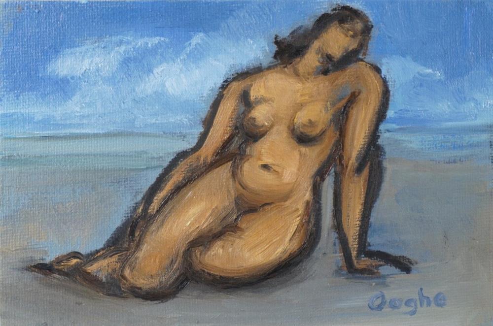 """Woman on Beach"" original fine art by Angela Ooghe"
