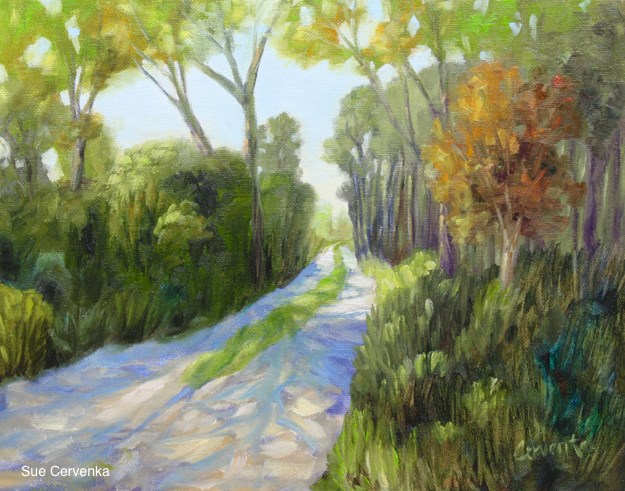 """Shady Lane off the Coast Highway"" original fine art by Sue Cervenka"