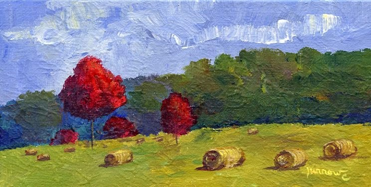 """ORIGINAL PAINTING OF AUTUMN MAPLES AND HAY BALES"" original fine art by Sue Furrow"