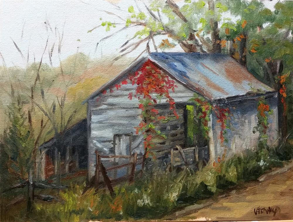 """Nature Reclaims-en plein air"" original fine art by Veronica Brown"