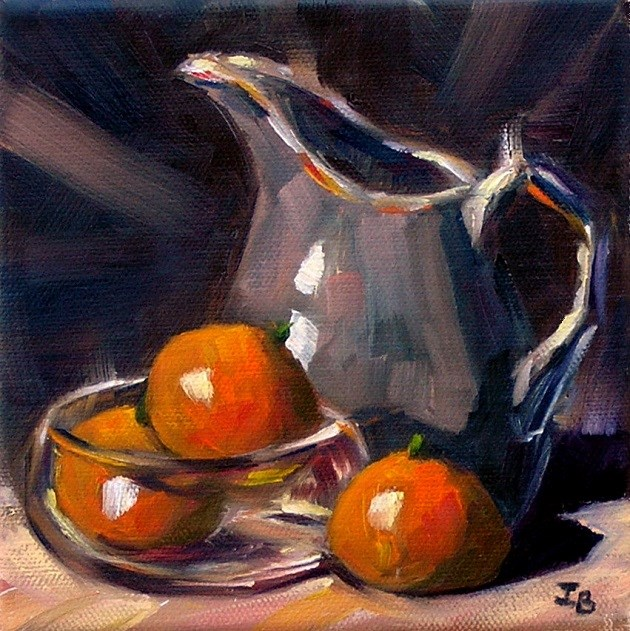 """Three tangerines"" original fine art by Irina Beskina"