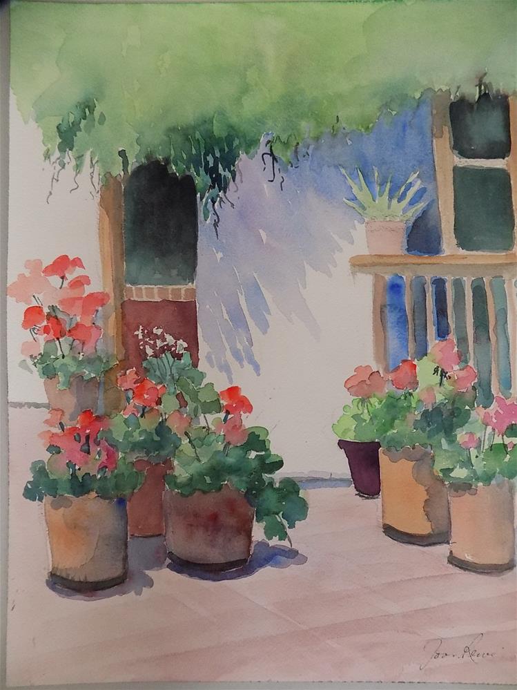 """Geraniums #4"" original fine art by Joan Reive"
