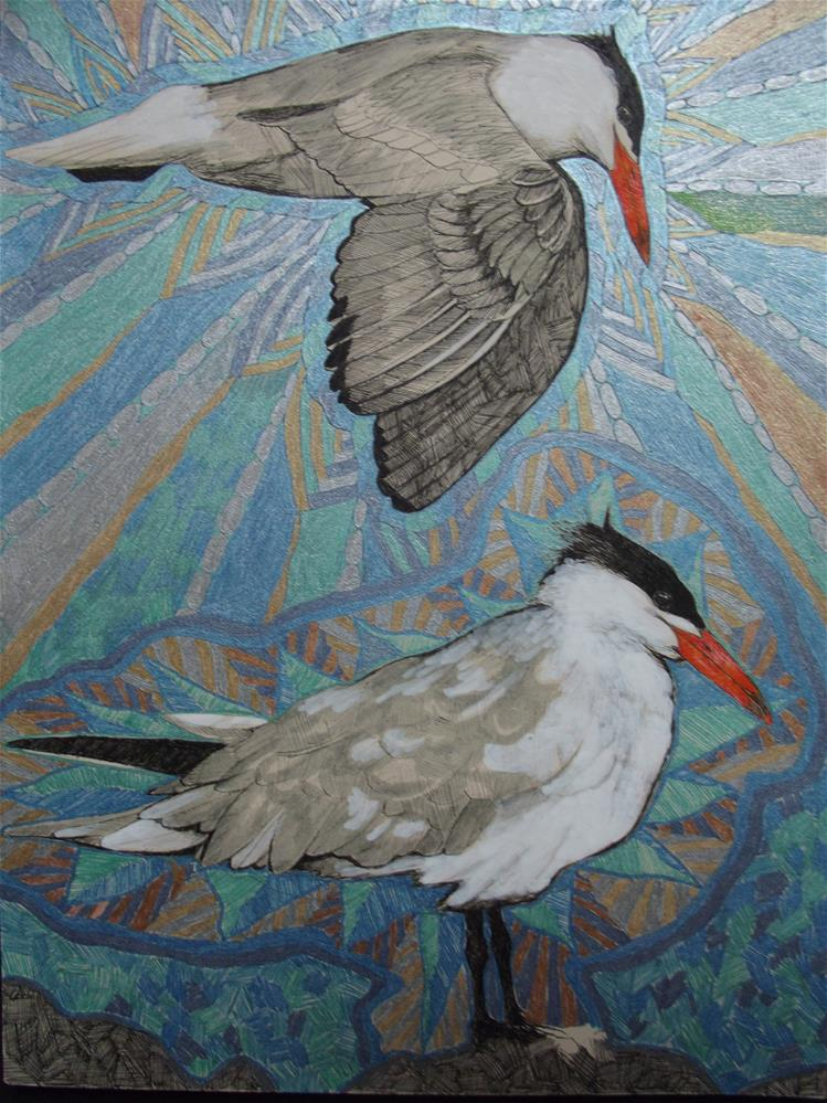 """Cold Water Terns"" original fine art by wanda sigafus"