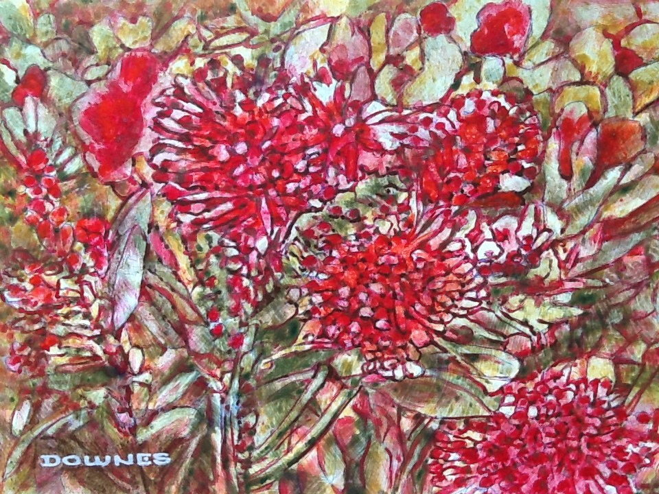 """025 GREVILLEA 4"" original fine art by Trevor Downes"