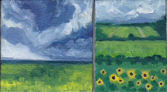 """""""Skies and Sunflowers"""" original fine art by J M Needham"""