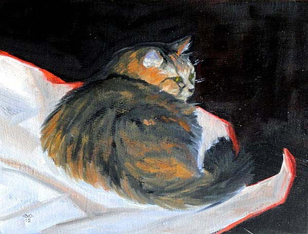 """Fat Cat On Wrapping Paper"" original fine art by Cietha Wilson"