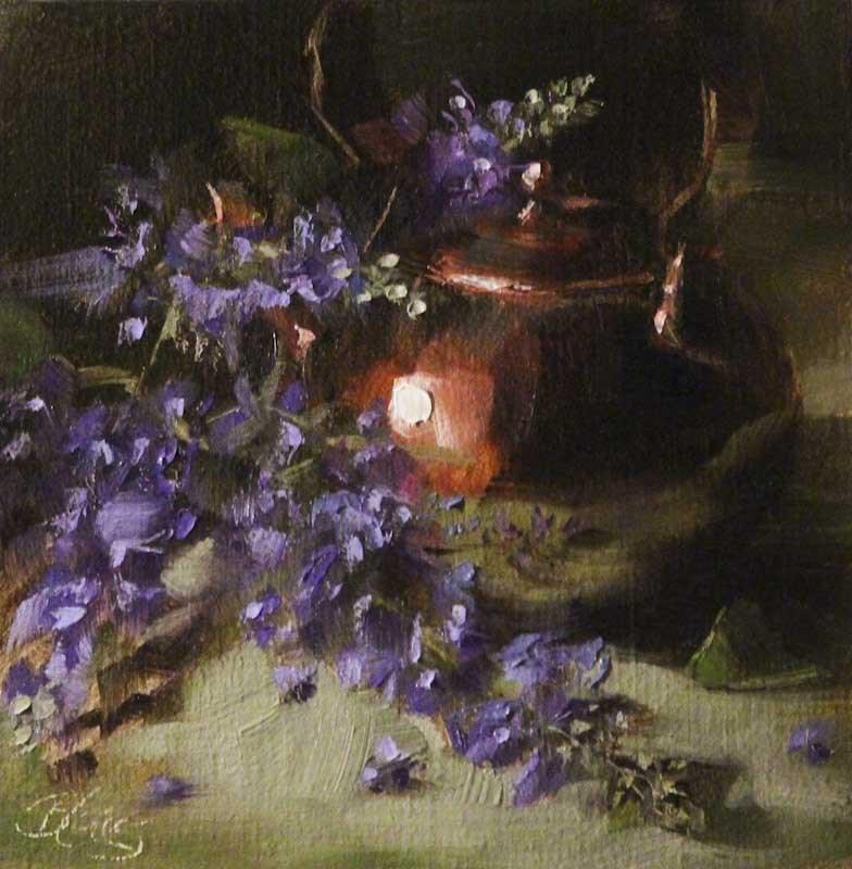 """Texas Lilacs and a Copper Teapot 2"" original fine art by Pamela Blaies"