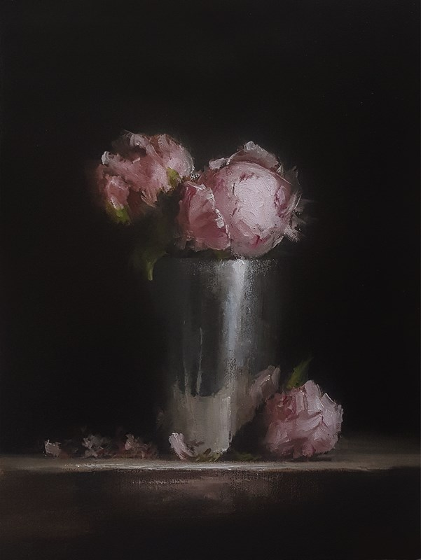 """Peonies in Metal Pot"" original fine art by Neil Carroll"