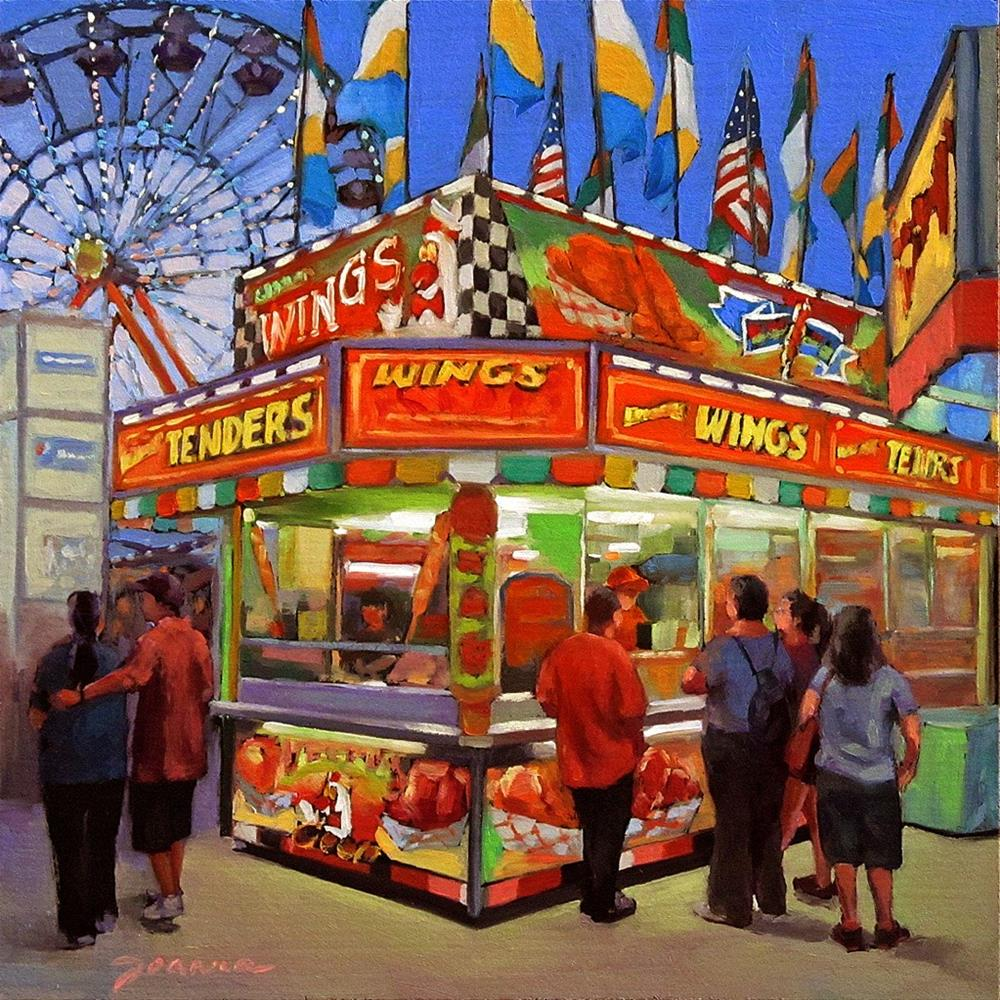 """Wing Wing Situation--Series Painting of Fair Food Booth"" original fine art by Joanna Bingham"