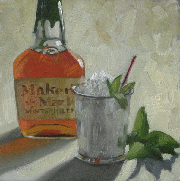 """Maker's Mark Mint Julep 6x6 oil"" original fine art by Claudia Hammer"