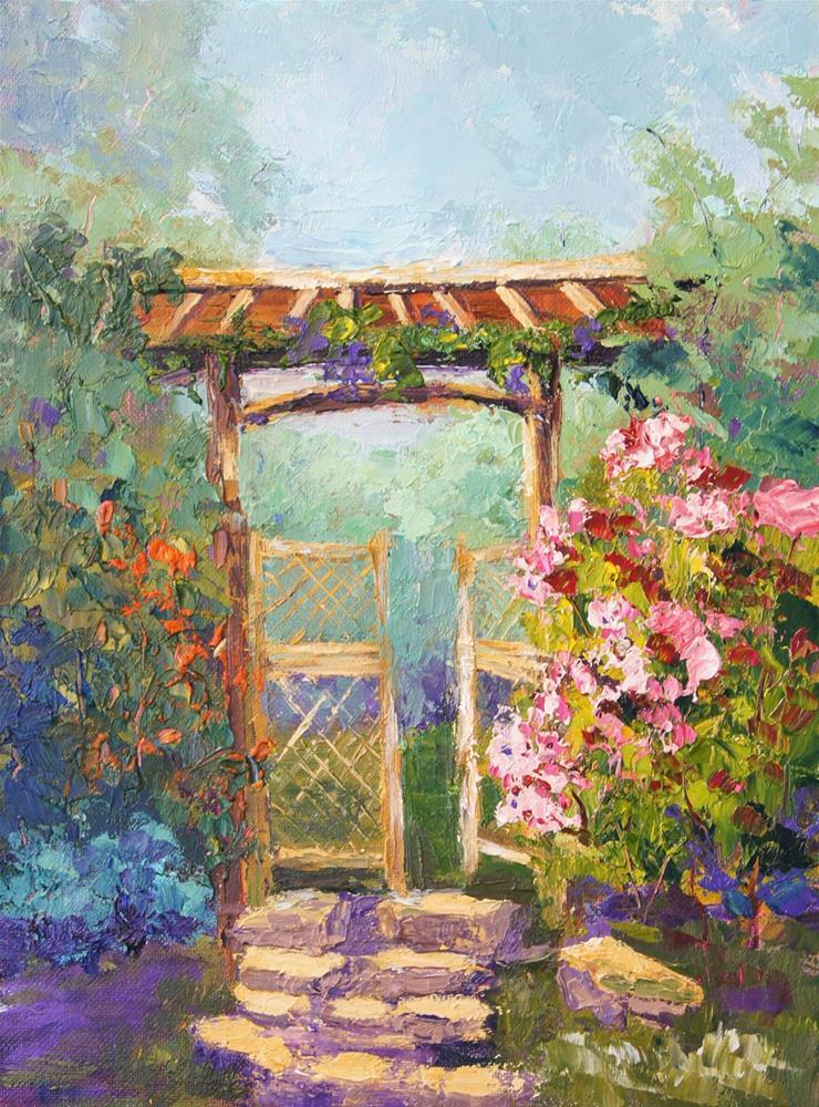 """Japanese Secret Garden"" original fine art by Marion Hedger"