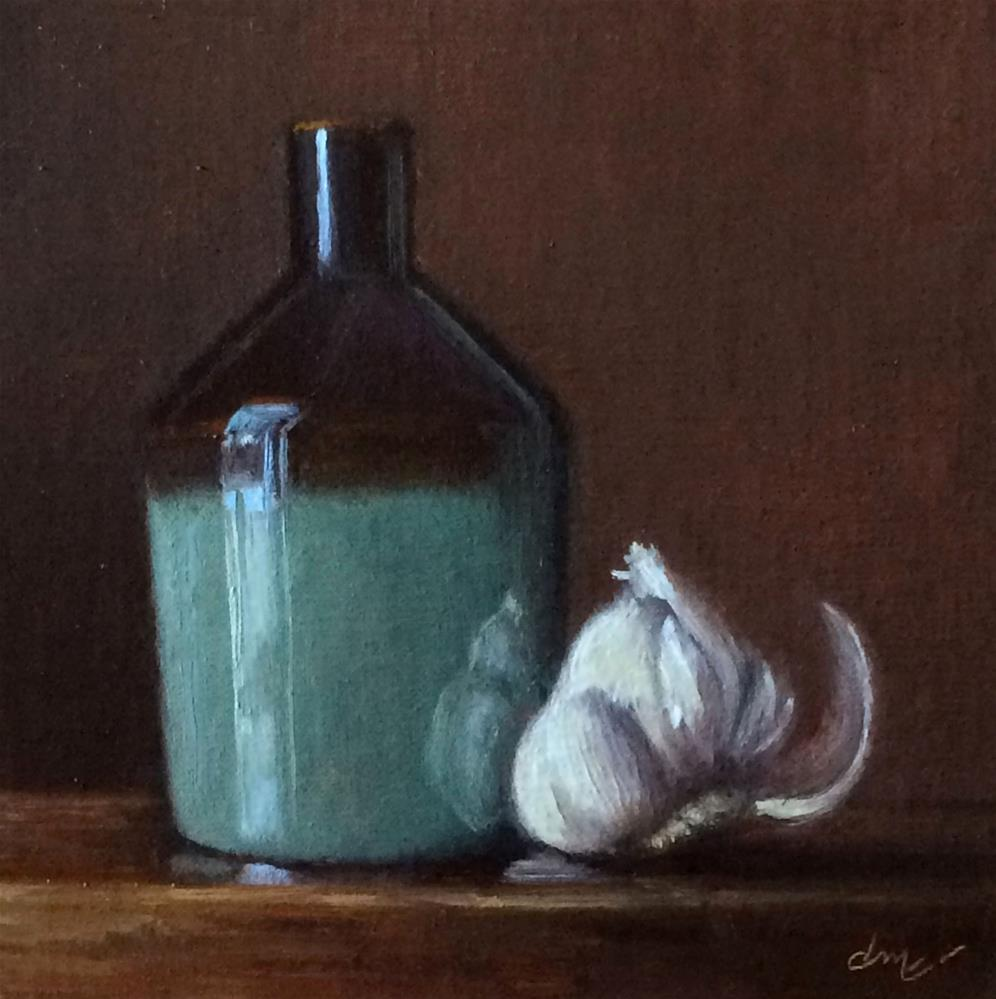 """Split Mallet Jar with Garlic"" original fine art by Darla McDowell"