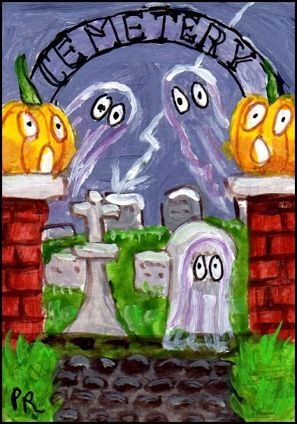 """Ghostly Cemetery"" original fine art by Patricia Ann Rizzo"