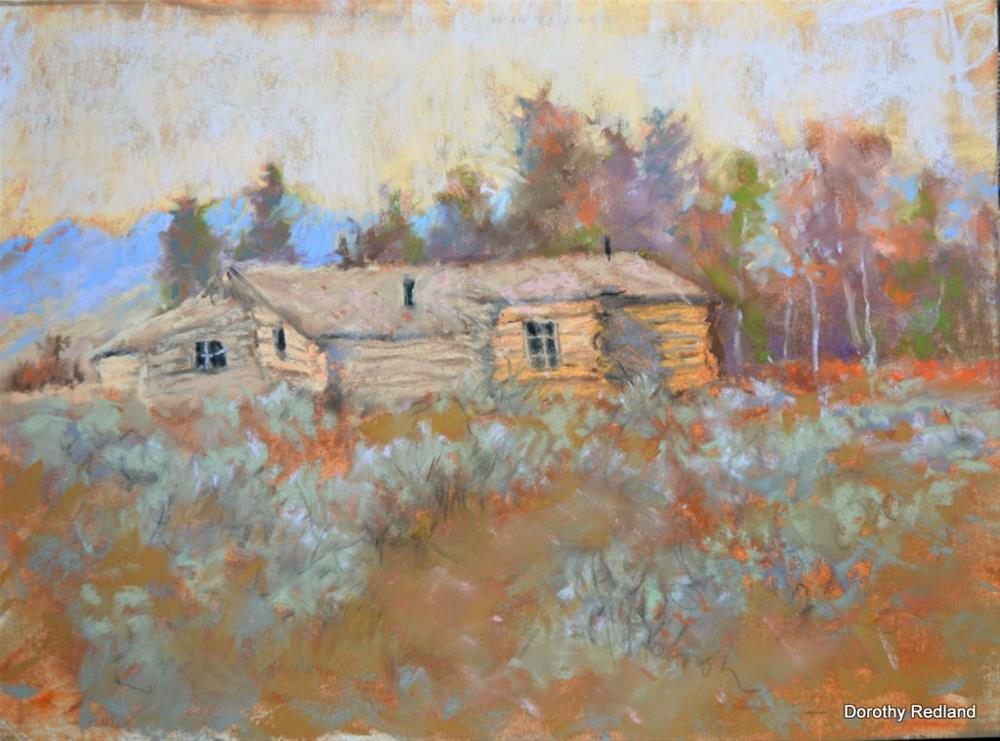 """Idaho homestead cabin"" original fine art by Dorothy Redland"