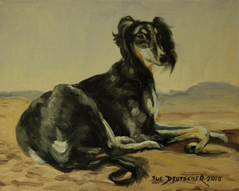 """Saluki Resting in the Desert"" original fine art by Sue Deutscher"
