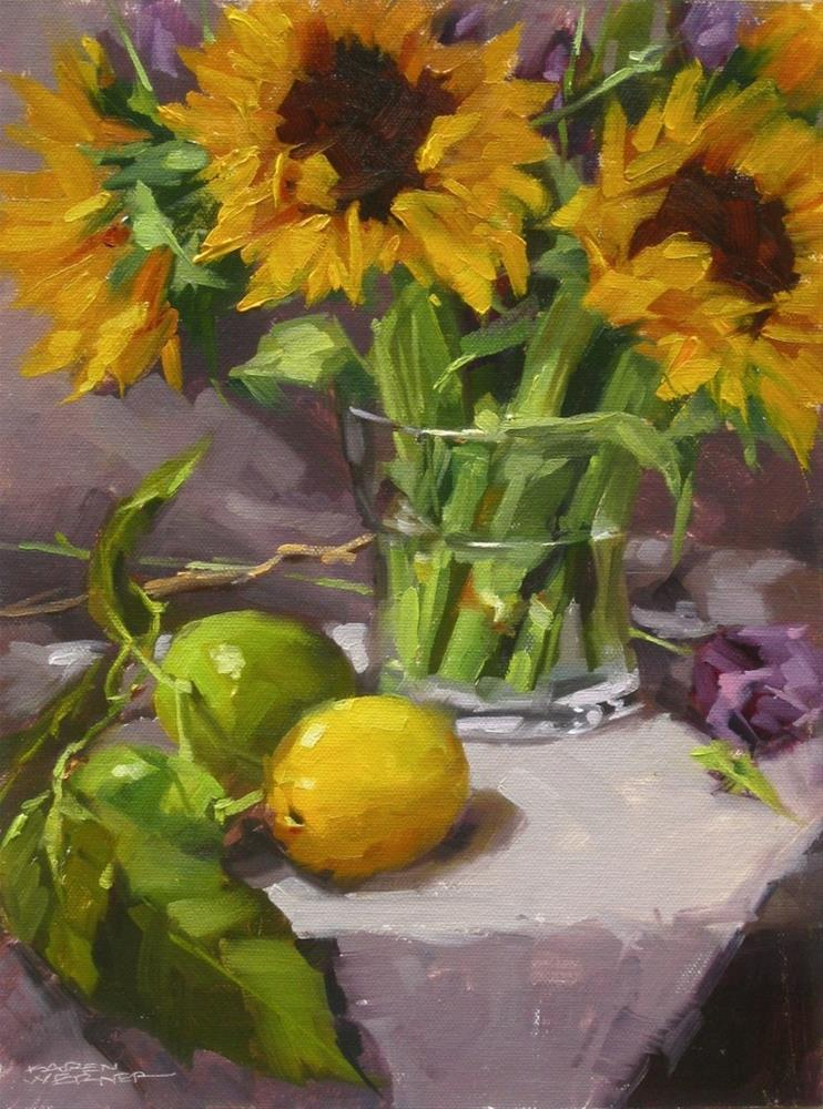 """Sunflowers & Citrus"" original fine art by Karen Werner"